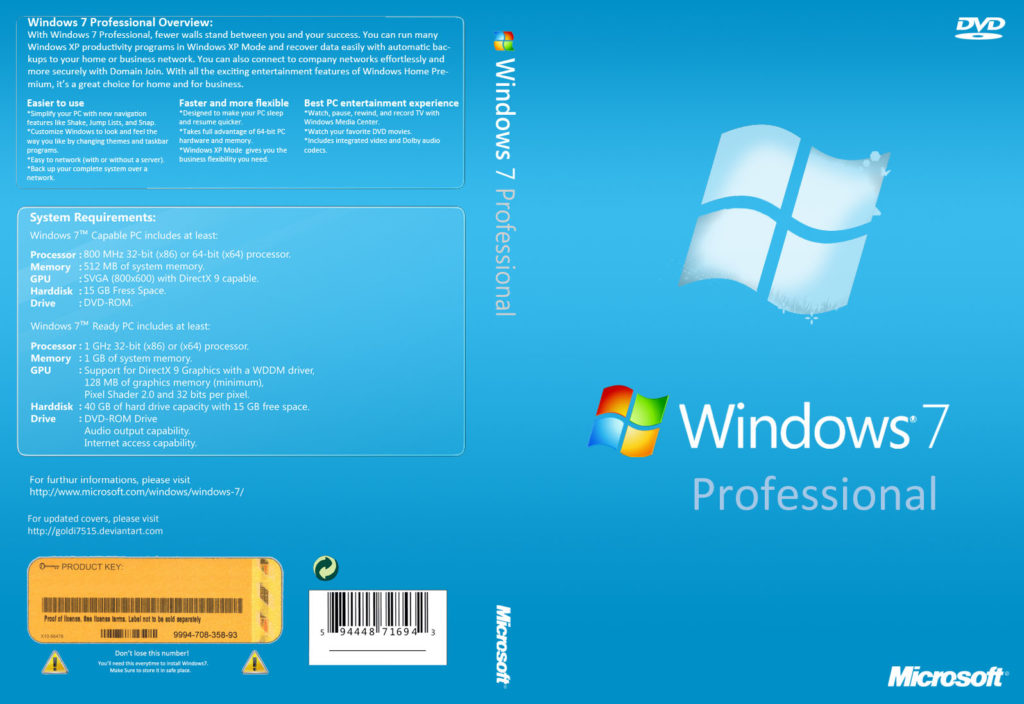 Windows 7 Professional Free Download Full Version ISO 32 / 64 Bit